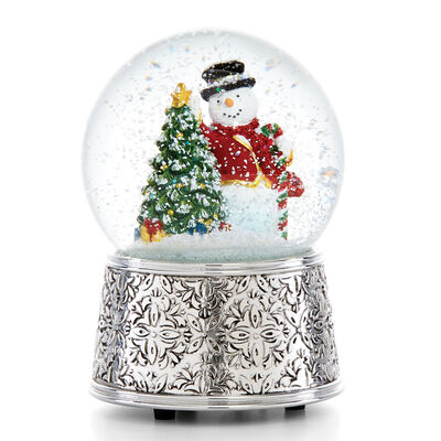Reed and Barton Vintage Snowman Musical Snowglobe, , default