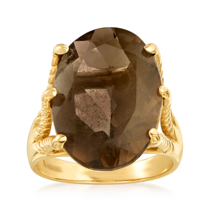 C. 1990 Vintage 10.40 Carat Smoky Quartz Ring in 14kt Yellow Gold. Size 6, , default