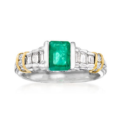 1.00 Carat Emerald and .44 ct. t.w. Diamond Ring in 14kt Two-Tone Gold