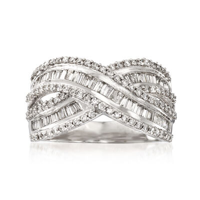 1.00 ct. t.w. Round and Baguette Diamond Crisscross Ring in 14kt White Gold, , default