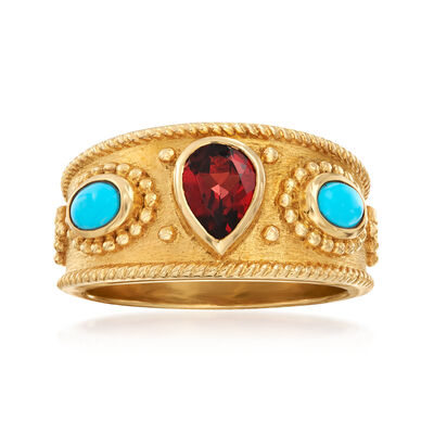 .60 Carat Garnet and Turquoise Ring in 18kt Gold Over Sterling