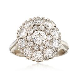 C. 1950 Vintage 2.05 ct. t.w. Diamond Circular Cluster Ring in 14kt White Gold. Size 5, , default