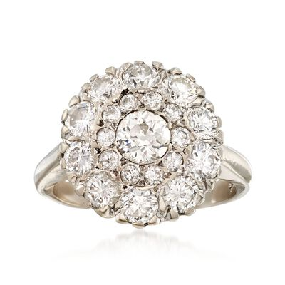 C. 1950 Vintage 2.05 ct. t.w. Diamond Circular Cluster Ring in 14kt White Gold, , default