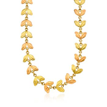 """C. 1940 Vintage 14kt Two-Tone Leaf Necklace. 16.5"""", , default"""