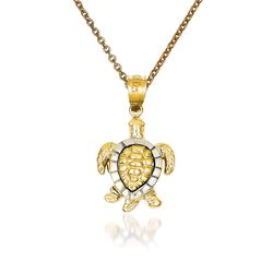 "14kt Two-Tone Gold Turtle Pendant Necklace. 18"", , default"