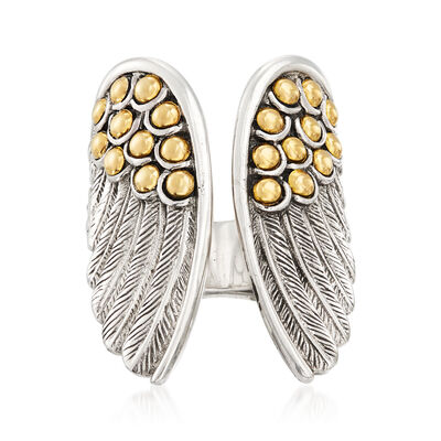 Sterling Silver and 18kt Gold Over Sterling Angel Wing Open-Top Ring