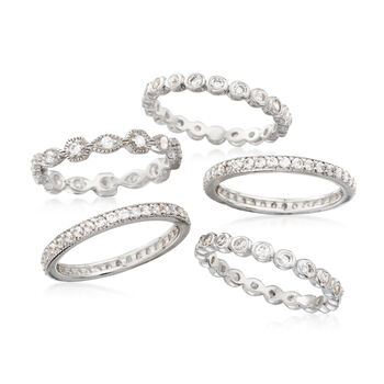2.50 ct. t.w. CZ Jewelry Set: Five Eternity Bands in Sterling Silver, , default