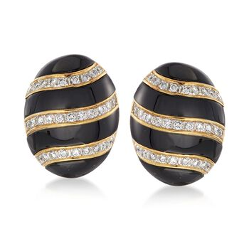 C. 1990 Vintage Black Onyx and 2.50 ct. t.w. Diamond Striped Clip-On Earrings in 14kt Yellow Gold , , default