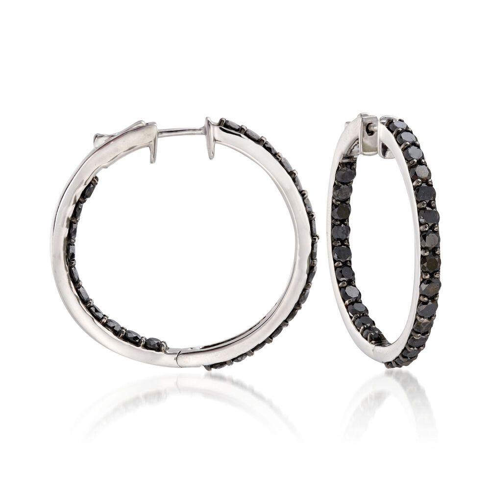 T W Black Diamond Inside Outside Hoop Earrings In Sterling Silver 1