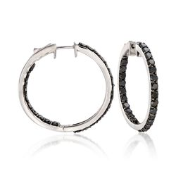 5.00 ct. t.w. Black Diamond Inside-Outside Hoop Earrings in Sterling Silver, , default