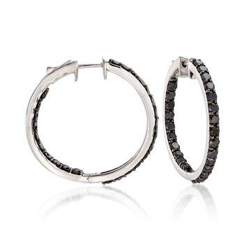 """5.00 ct. t.w. Black Diamond Inside-Outside Hoop Earrings in Sterling Silver. 1 1/4"""", , default"""