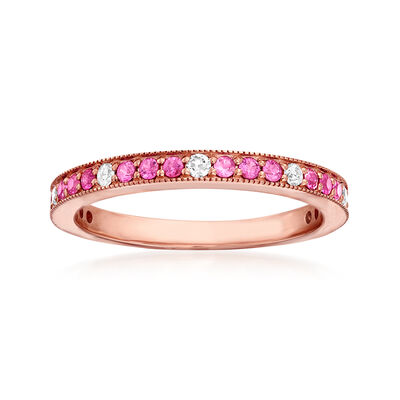 .40 ct. t.w. Pink Sapphire and .13 ct. t.w. Diamond Ring in 14kt Rose Gold