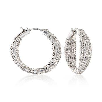 """2.05 ct. t.w. Diamond Pave Inside-Outside Hoop Earrings. 7/8"""", , default"""