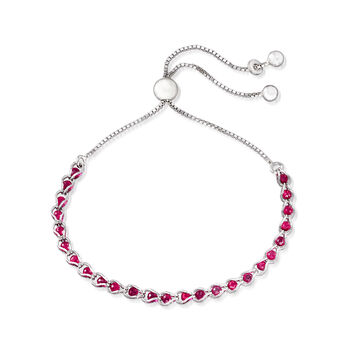 Italian Simulated Ruby Bead Bolo Bracelet in Sterling Silver