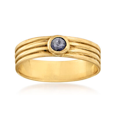 C. 1980 Vintage .15 Carat Sapphire Ring in 18kt Yellow Gold