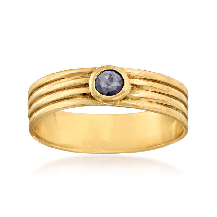 C. 1980 Vintage .15 Carat Sapphire Ring in 18kt Yellow Gold. Size 6