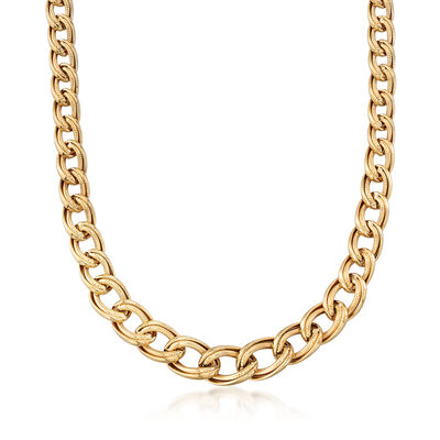 Graduated Double-Oval Link Necklace in 18kt Yellow Gold, , default