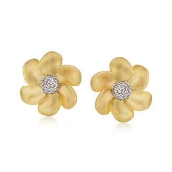 C. 1990 Vintage .50 ct. t.w. Diamond Floral Earrings in 18kt Yellow Gold, , default