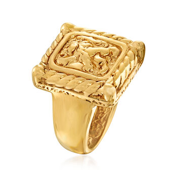 Italian 14kt Yellow Gold Crest-Style Lion Ring, , default