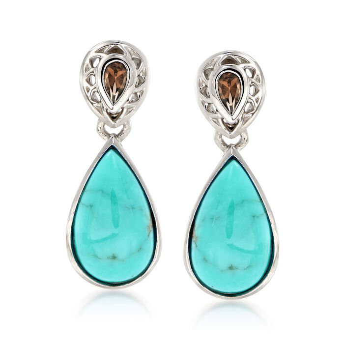 Turquoise and .40 ct. t.w. Smoky Quartz Drop Earrings in Sterling Silver, , default