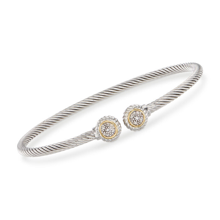 "Phillip Gavriel ""Italian Cable"" Sterling Silver and 18kt Yellow Gold Cuff Bracelet with Diamond Accents"