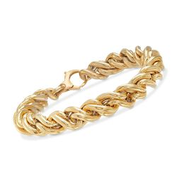 Italian 18kt Yellow Gold Textured and Polished Rope Chain Bracelet, , default