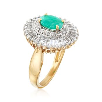 1.00 Carat Emerald and 2.00 ct. t.w. White Topaz Ring in 18kt Gold Over Sterling. Size 9, , default