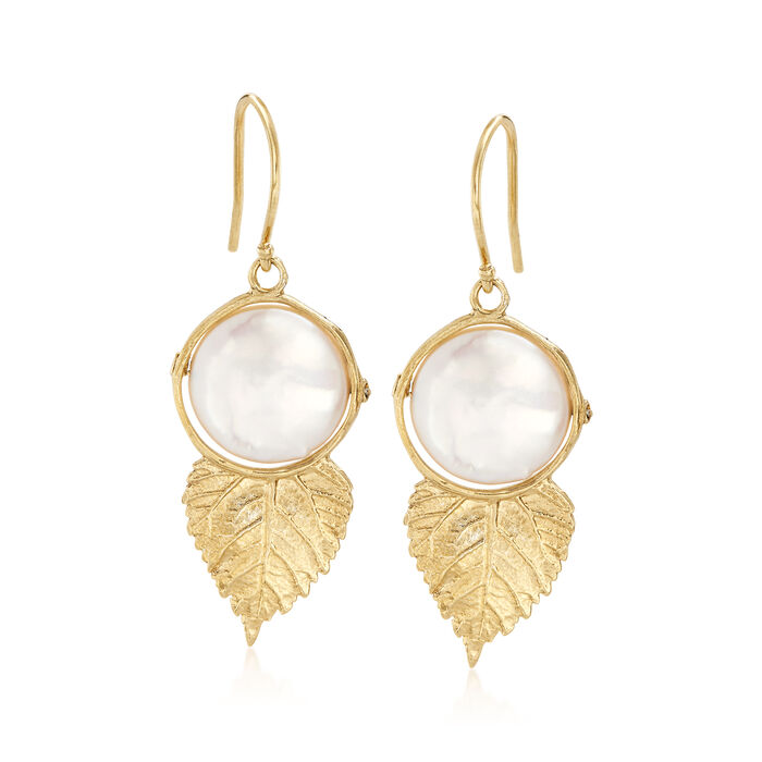 12mm Cultured Coin Pearl Leaf Drop Earrings in 18kt Gold Over Sterling