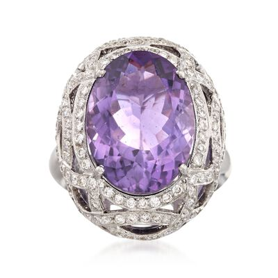 C. 2000 Vintage 11.00 Carat Amethyst and 1.50 ct. t.w. Diamond Ring in 18kt White Gold, , default