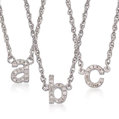 Diamond Accent Mini Initial Necklace in Sterling Silver