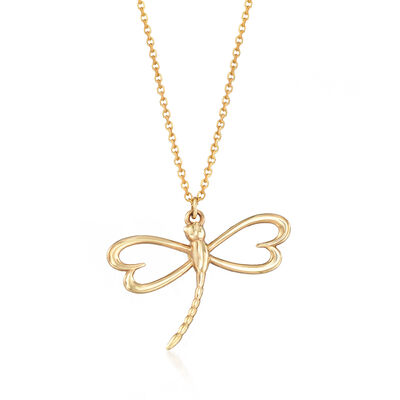 Italian 14kt Yellow Gold Dragonfly Pendant Necklace, , default