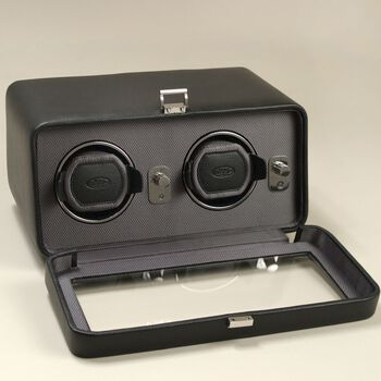 """""""Windsor"""" Black Faux Leather Double Watch Winder With Cover by Wolf Designs, , default"""