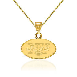 """14kt Yellow Gold NFL New York Jets Small Pendant Necklace. 18"""", , default"""