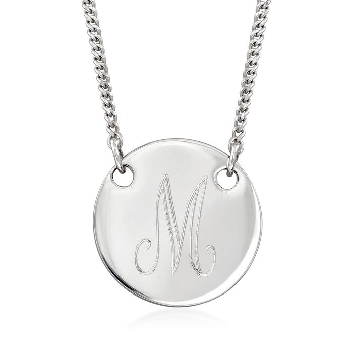 Italian Sterling Silver Single-Initial Disc Necklace