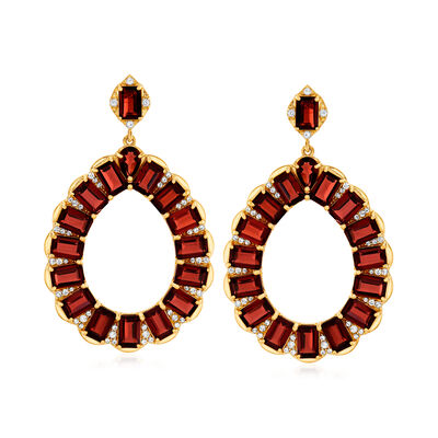 20.90 ct. t.w. Garnet and 1.40 ct. t.w. White Topaz Open-Teardrop Earrings in 18kt Gold Over Sterling