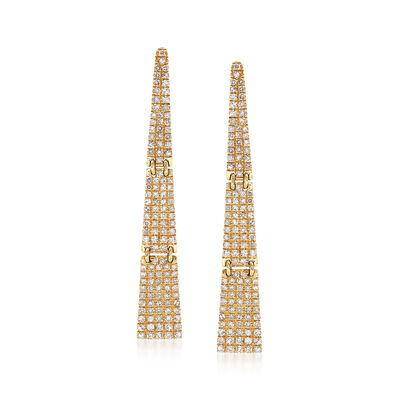 .69 ct. t.w. Pave Diamond Triangle Drop Earrings in 14kt Yellow Gold, , default