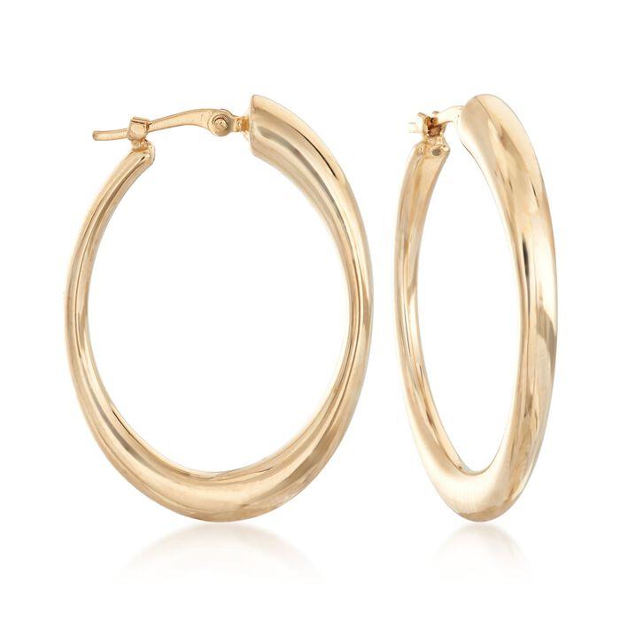 """14kt Yellow Gold Oval Hoop Earrings. 1 1/8"""", , default"""