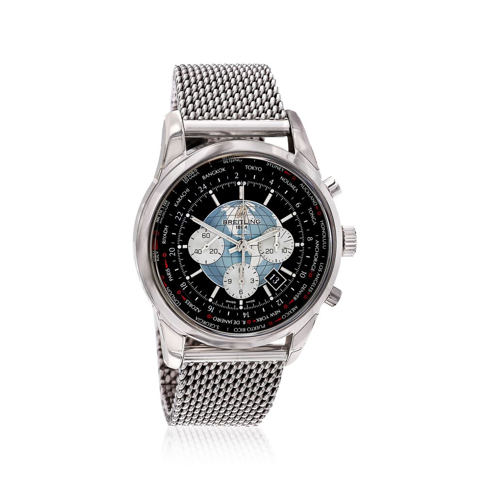2c171773fd2 Breitling Transocean Chronograph Unitime Men's 46mm Automatic Stainless  Steel Watch - Black Dial, , default