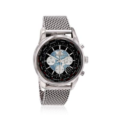 Breitling Transocean Chronograph Unitime Men's 46mm Automatic Stainless Steel Watch - Black Dial, , default