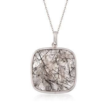 "40.00 Carat Tourmalinated Quartz Pendant Necklace in Sterling Silver. 18"", , default"