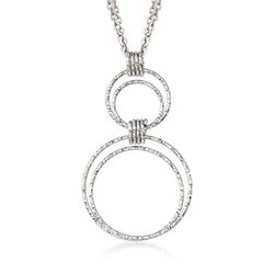 "Italian Sterling Silver Diamond-Cut Double Circle Pendant Necklace. 18"", , default"