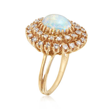 C. 1970 Vintage Opal and 1.15 ct. t.w. Diamond Ring in 14kt Yellow Gold. Size 8.75, , default