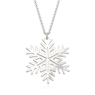 Sterling Silver Large Snowflake Pendant Necklace, , default