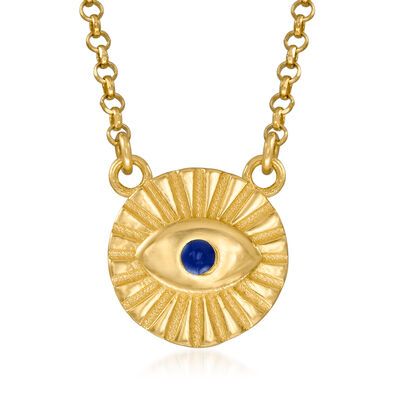 Italian Blue Enamel Evil Eye Necklace in 18kt Gold Over Sterling