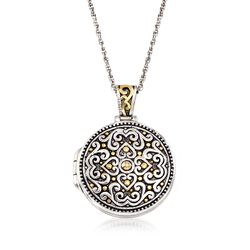 "Two-Tone Sterling Silver Bali-Style Locket Necklace. 18"", , default"