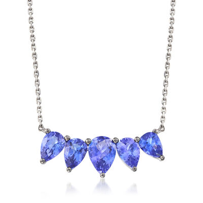 2.40 ct. t.w. Tanzanite Necklace in 18kt White Gold
