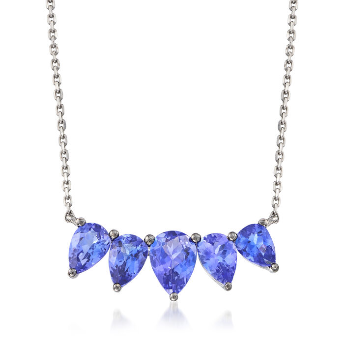 2.40 ct. t.w. Tanzanite Necklace in 18kt White Gold, , default