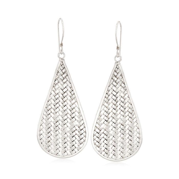 Sterling Silver Basketweave Drop Earrings, , default