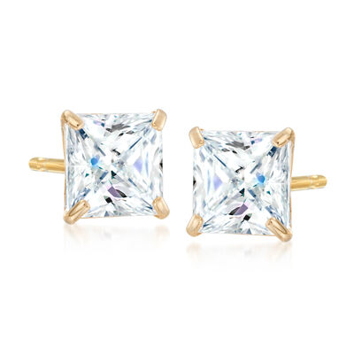 2.00 ct. t.w. Princess-Cut CZ Stud Earrings in 14kt Yellow Gold