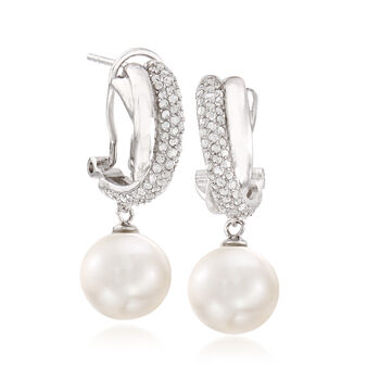 10-11mm Cultured Pearl and .40 ct. t.w. Diamond Drop Earrings in Sterling Silver, , default